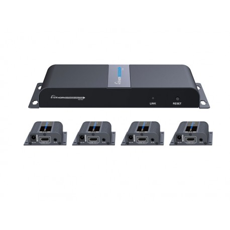 4 Port HDMI Splitter & 40m. Extender over Cat6/6a/7 with RX PoE support
