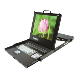 "16-Port, 17"" LCD KVM Switch w/ Single Rails, OSD, Daisy-Chainable"