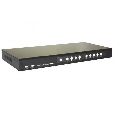 4 Port DVI Quad View KVM Switc