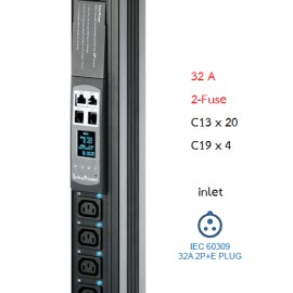 Switched PDU + Outlet Measurement 32A : C13x20 + C19x4, 2-Fuse