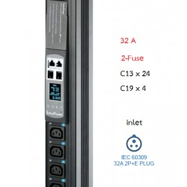 Switched PDU + Outlet Measurement 32A : C13x24 + C19x4, 2-Fuse