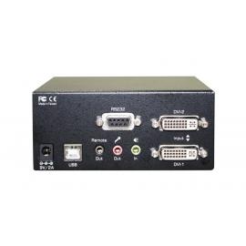 Dual Monitors DVI KVMR Extender Over LAN with Audio, Mic, RS232, USB Hub