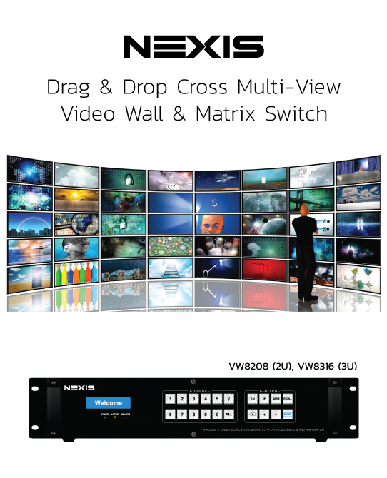 NEXIS Drag & Drop Cross multiview vieo wall matrix switch
