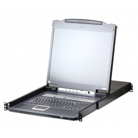 8-Port PS/2-USB VGA LCD 19 inch + KVM over IP Switch with Daisy-Chain Port and USB Peripheral Support