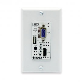 4K60 (4:4:4) HDMI/VGA over HDBaseT Wallplate Switcher with Signal Event Automation (1 Gang US)