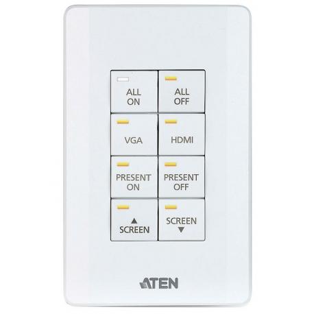 ATEN Control System - 8-button Keypad (US, 1 Gang)