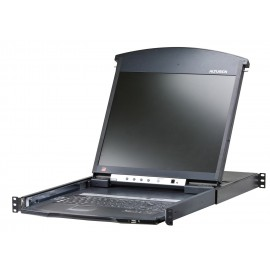"16-Port Dual Rail LCD 19"" KVM Switch LCD Console + Cat 5 High-Density KVM Switch with KVM over IP"
