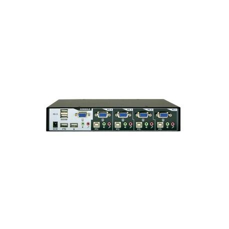 4-Port VGA USB Desktop KVM Switch w/ Audio, Mic & Hub