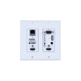 4K60 (4:4:4) 2×1 HDMI/VGA over HDBaseT Wallplate Switcher with PoH (PD) & LAN (2 Gang US)