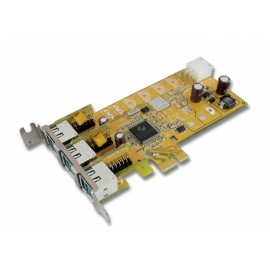 3-port 12V Powered USB PCI Express Low Profile Add-On Card