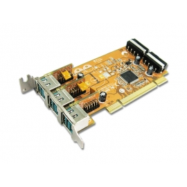 3-port 12V Powered USB PCI Low Profile Add-On Card