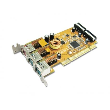 1-port 24V & 2-port 12V Powered USB PCI Low Profile Add-On Card